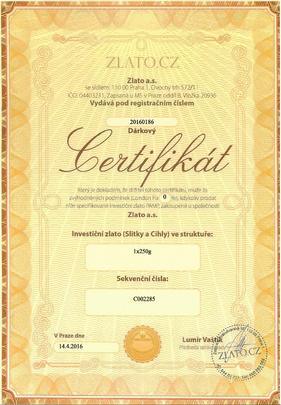 certifikat zlato